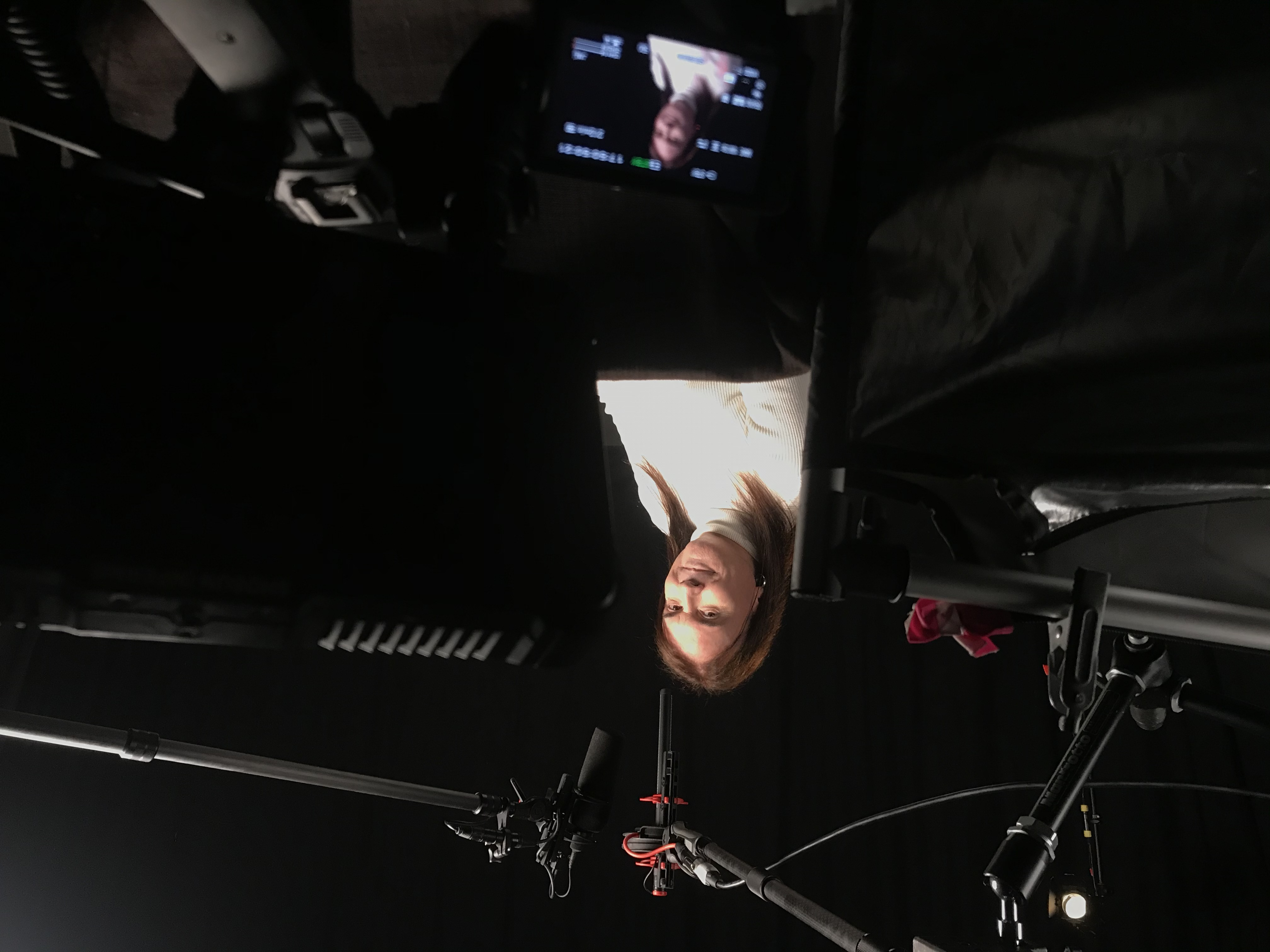 Rohan Quine recording the video-book format of his novel 'The Imagination Thief' (photo by Paul Lucas)